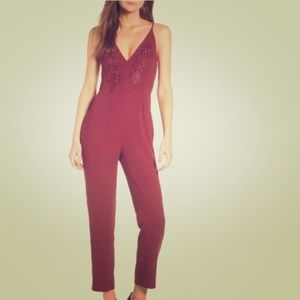 Leith Maroon Floral Jumpsuit